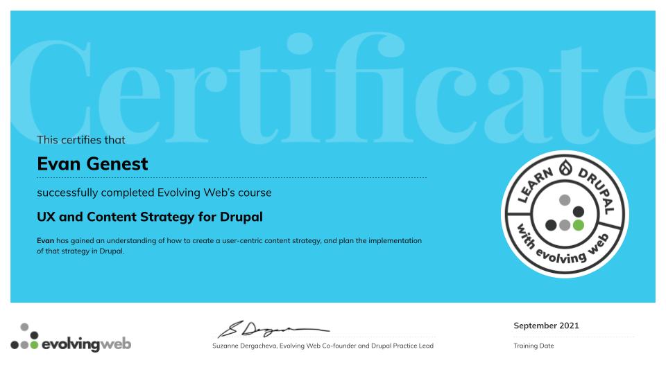 UX Certificate for Evan Genest